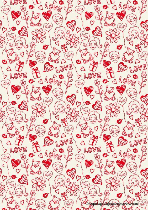 Im genes de dibujos a l piz de amor corazones rosas y animales im genes totales - Papel decorativo infantil ...