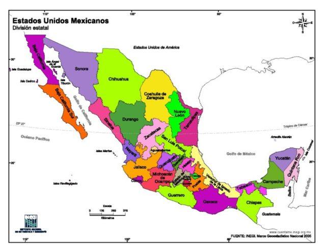 Mapa de Mxico con nombres capitales y estados  Imgenes Totales