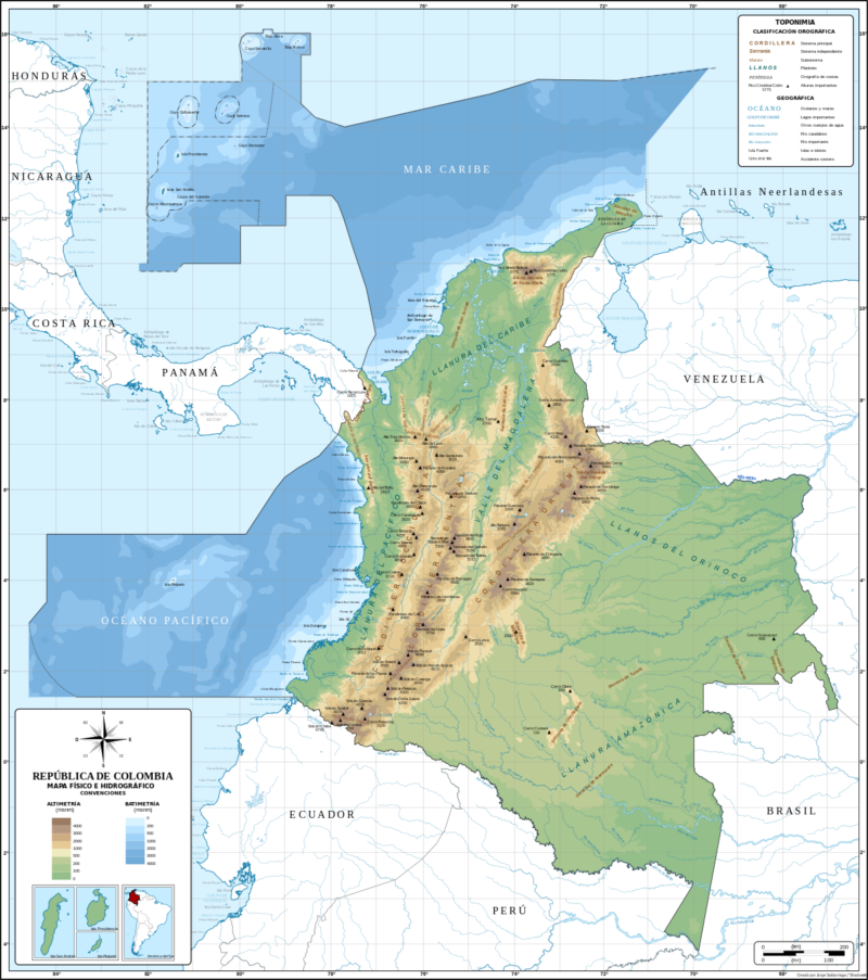 Mapa de Colombia poltico regiones relieve para colorear