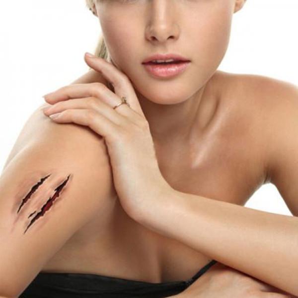 5x-de-Halloween-Zombie-cicatrices-tatuajes-con-falso-costra-arterial-especial-Fx-maquillaje-traje