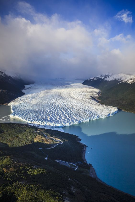 """Aerial view of glacier in rural landscape, El Calafate, Patagonia, Argentina"""