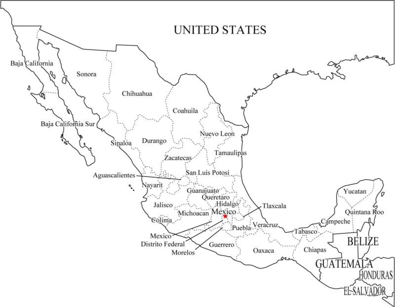 Mapa De México Con Nombres Capitales Y Estados Imágenes