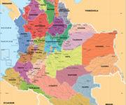 Mapa de Colombia: político, regiones, relieve, para colorear
