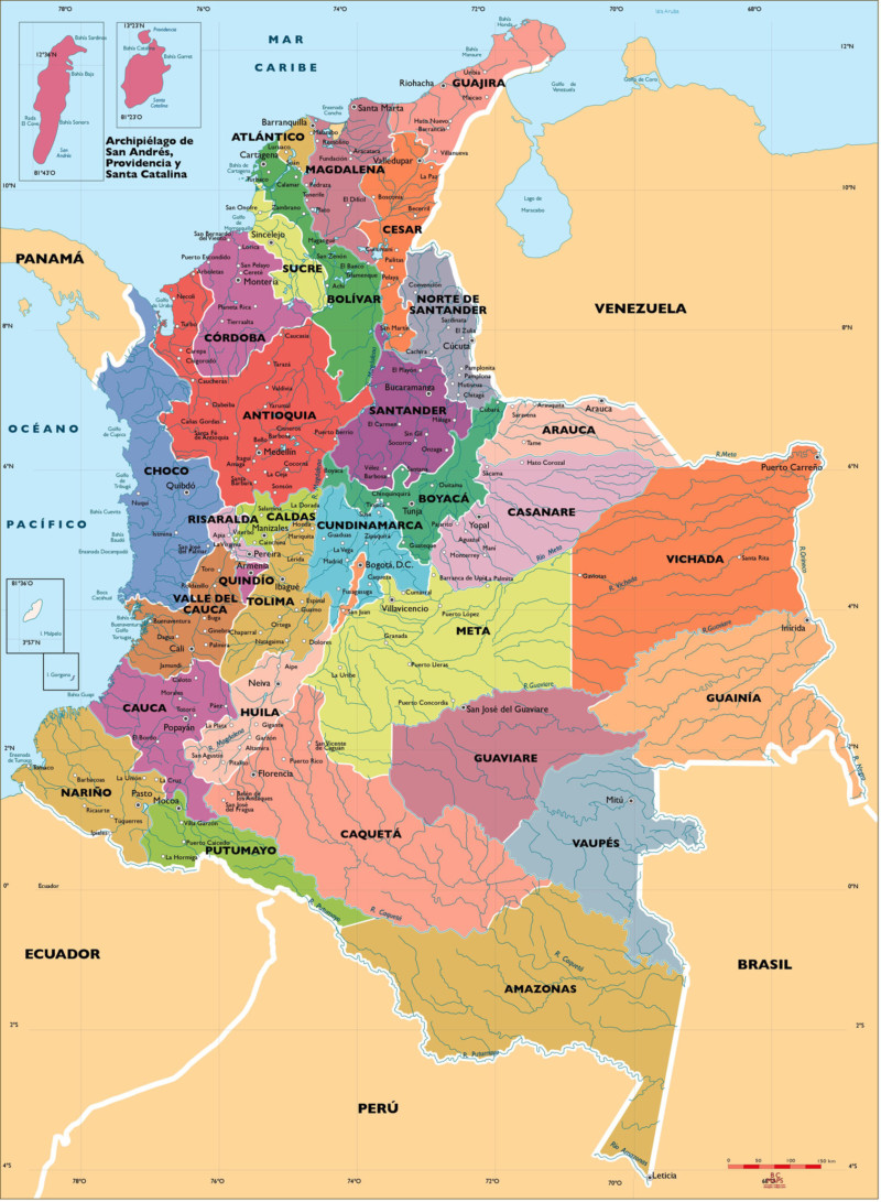 Mapa de Colombia poltico regiones relieve para colorear