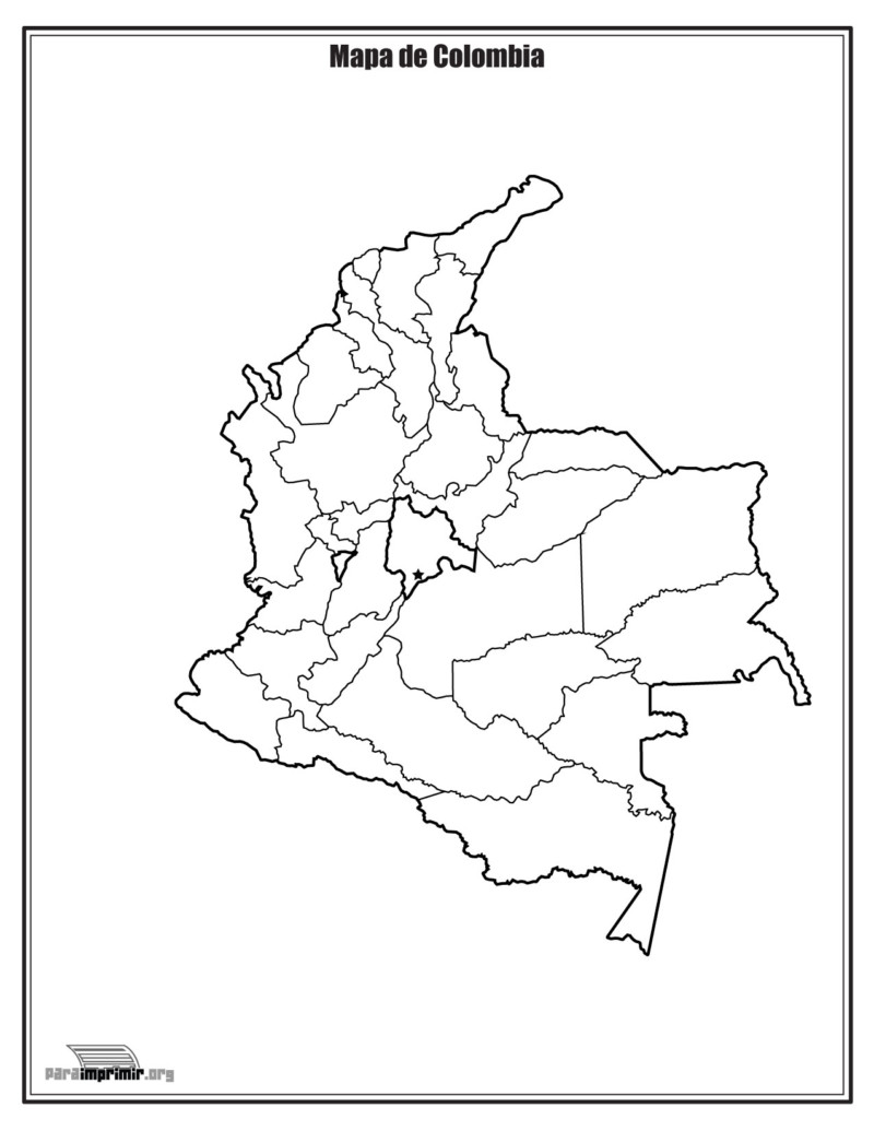 Mapa De Colombia Político Regiones Relieve Para Colorear