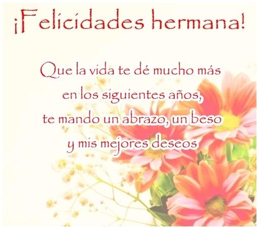 Feliz Cumpleanos Hermana Imagen Con Flores Para Compartir En