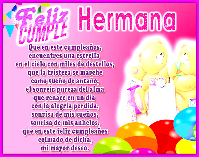 50 Imágenes De Feliz Cumpleaños Hermana Con Frases Y Mensajes