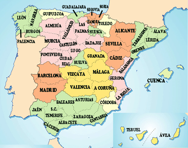 Mapa Carreteras España 2018.Mapas De Espana Politico Carreteras Costas Aeropuertos