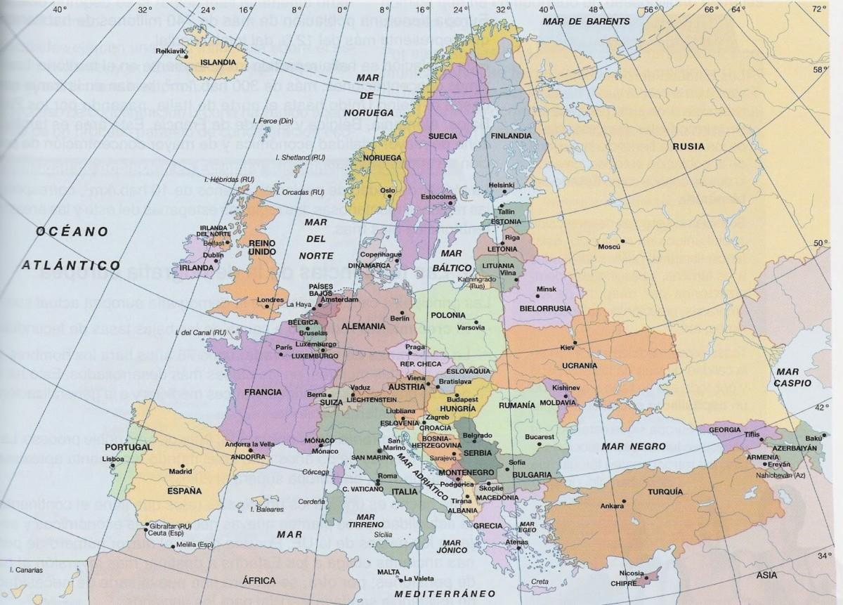 Mapa Europa Politico Capitales.Mapa De Europa Con Nombres Capitales Banderas Y Ciudades Imagenes Totales