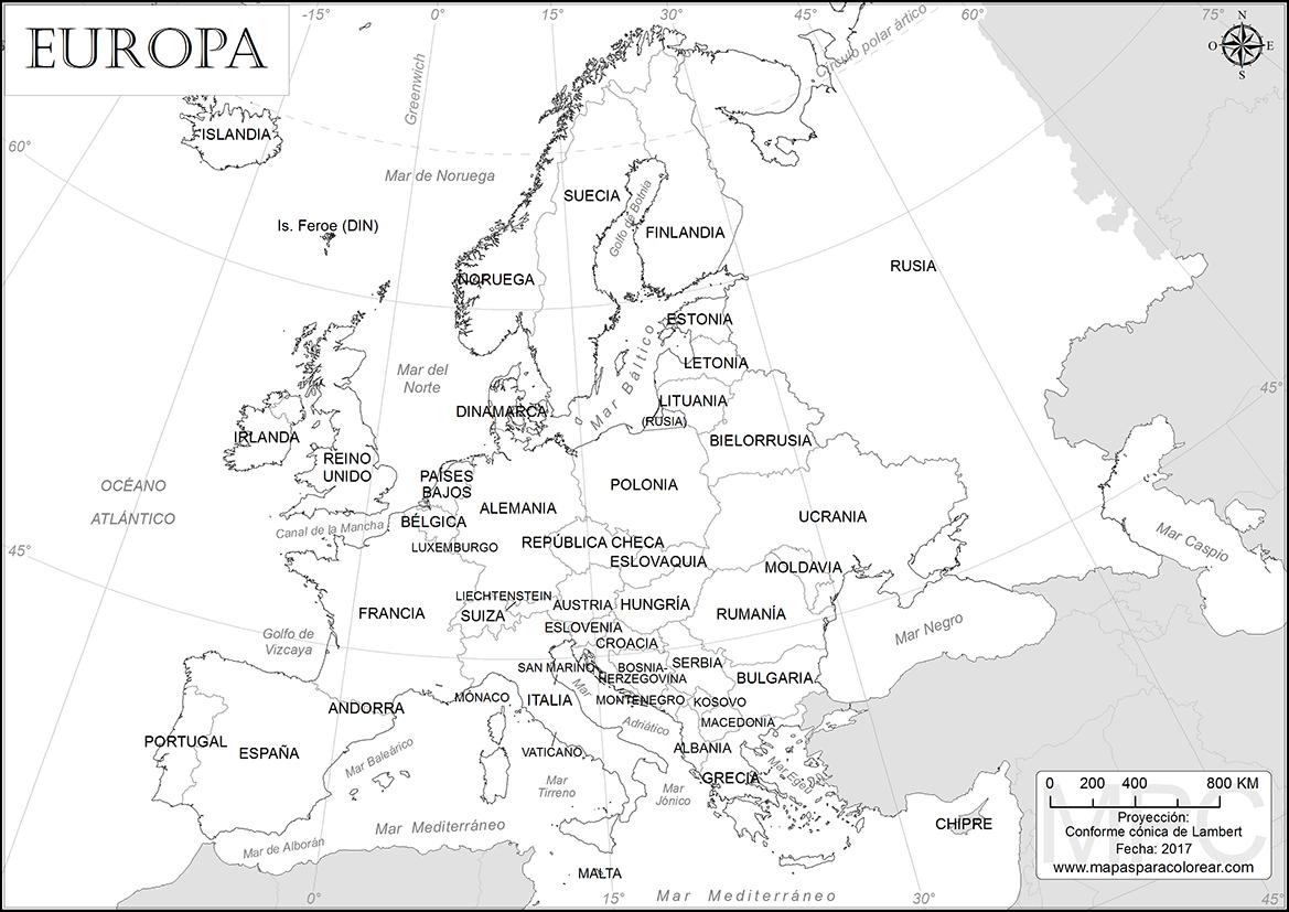 Mapa de Europa con Nombres, Capitales, Banderas y Ciudades ...