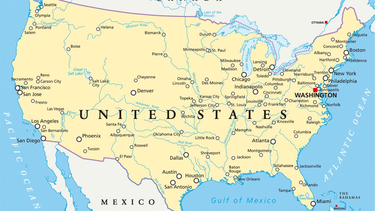 Mapa de Estados Unidos con Nombres, Capitales, Estados, para ...