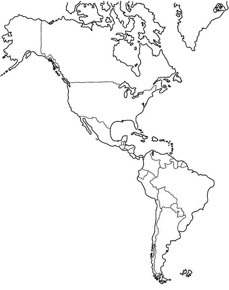 Mapa de América: político, regiones, relieve, para colorear ...