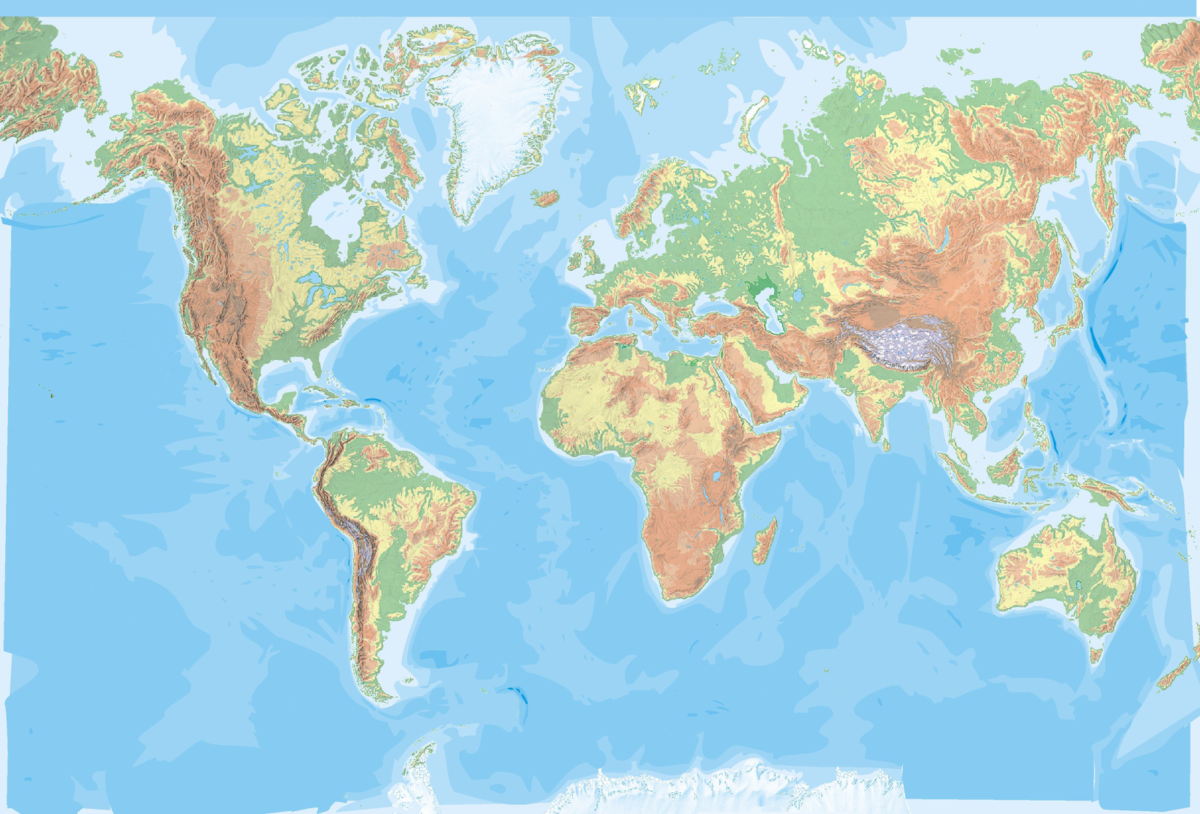 Mapa Fisico Del Mundo Sin Nombres Para Imprimir.Mapa Del Mundo Politico Fisico Relieve Con Nombres