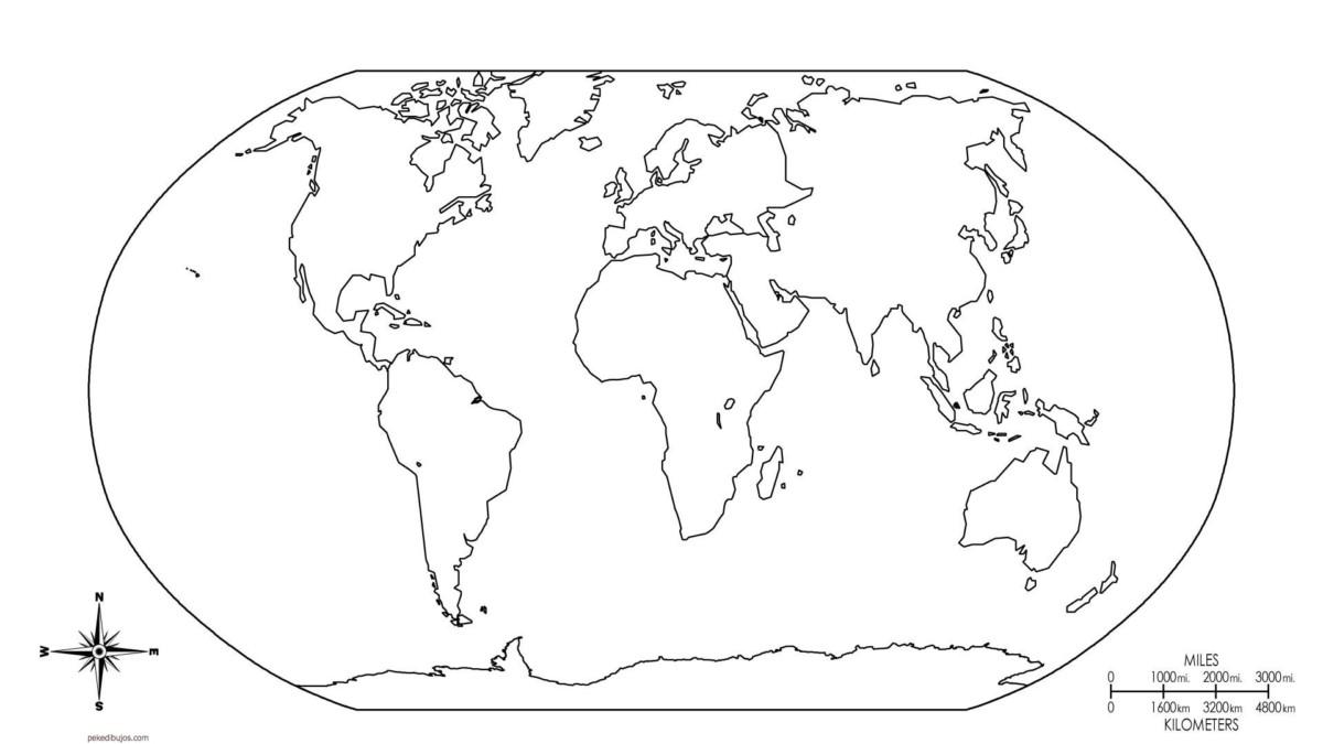 Mapa Del Mundo Político Físico Relieve Con Nombres