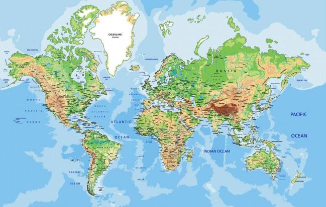 Mapa Geografico Del Mundo.Mapa Del Mundo Politico Fisico Relieve Con Nombres
