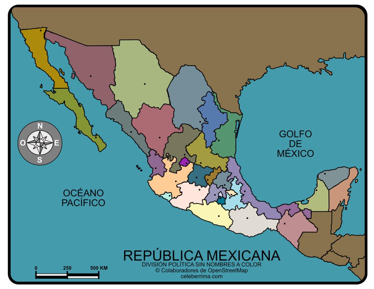 Mapas de MÉXICO con nombres, ciudades, estados, capitales