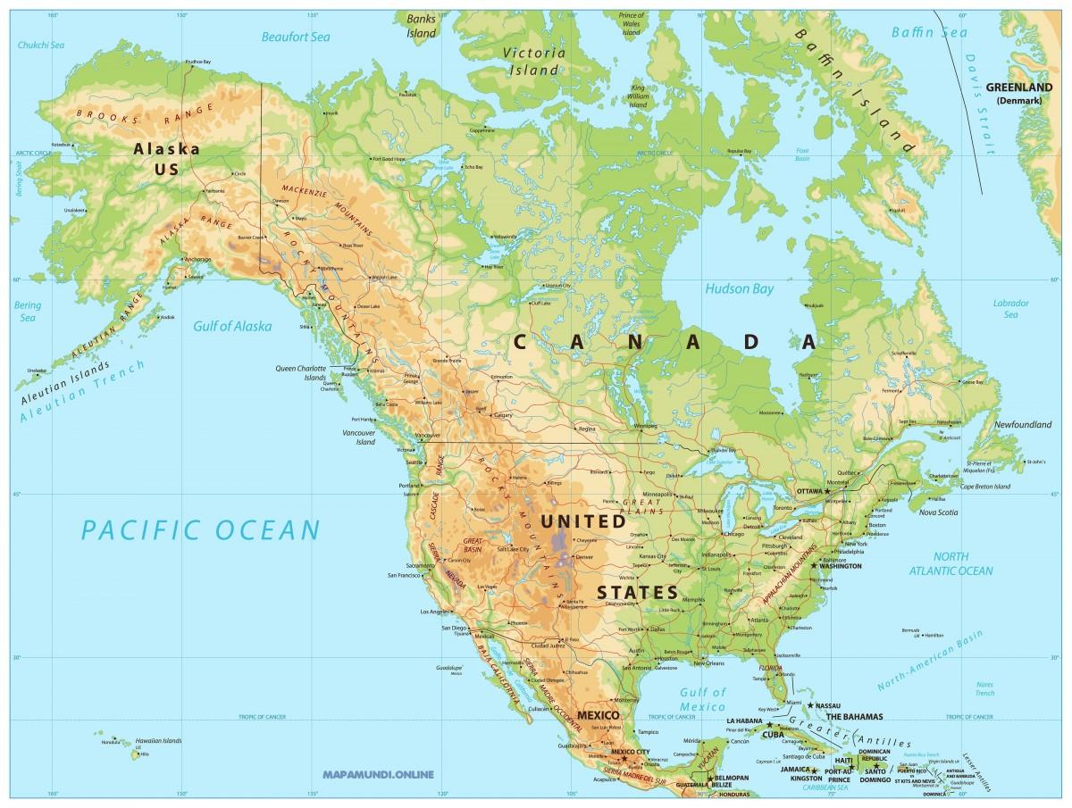 Mapa De América Países De América Del Norte América