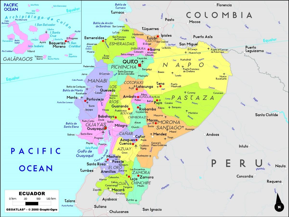 Mapa Del Ecuador Politico Fisico Regiones Provincias
