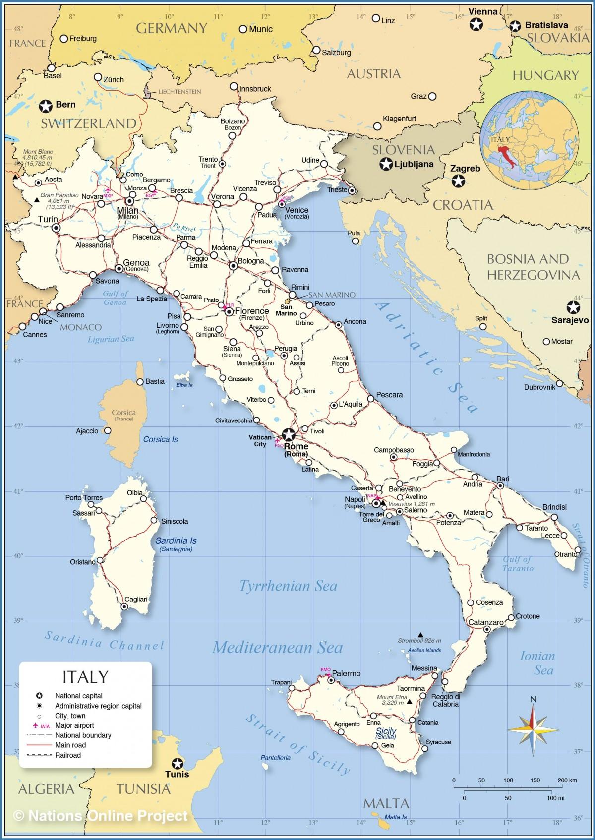 Mapa De Italia Politico Fisico Regiones Relieve Para Colorear