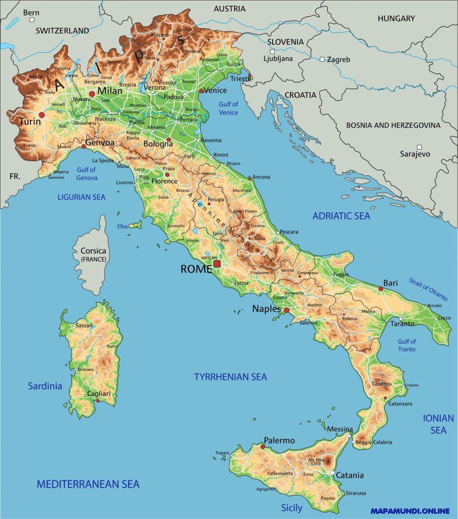 Mapa De Italia Fisico.Mapa De Italia Politico Fisico Regiones Relieve Para